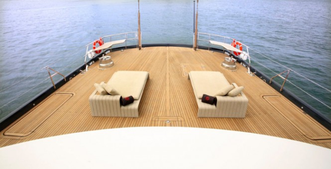 The back of the main deck is spacious and perfect for relaxing as you float along the water.