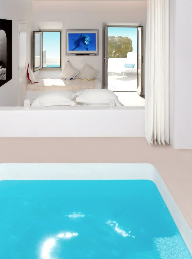 santorini grace room with pool