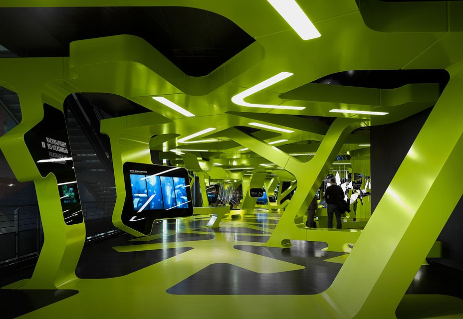Futuristic exhibition center marrying digital media for Office design exhibitions