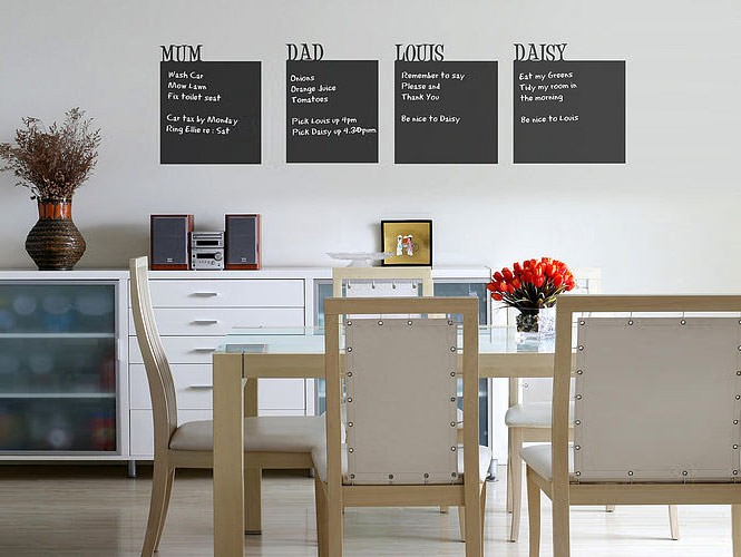 wall stick chalkboards in dining