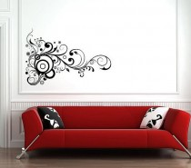 wall sticker black on white swirls