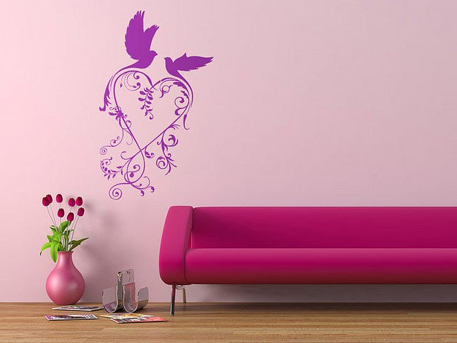 wall sticker purple and pink birds