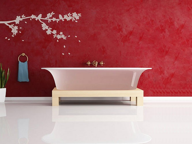 wall sticker white branches bathrooom