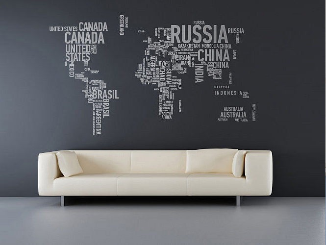 wall sticker world map