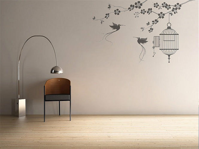 wall stickers birds and cage