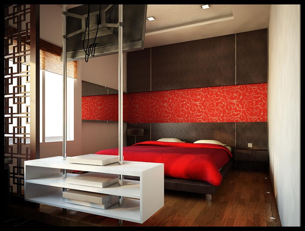 Red bedrooms for White bed interior design