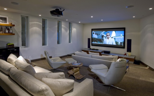blue jay way den with tv - Den Design Ideas