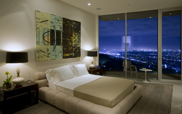 blue jay way neutral bedroom with night view