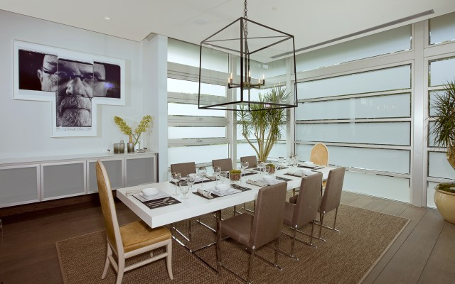 blue jay way neutral modern dining room
