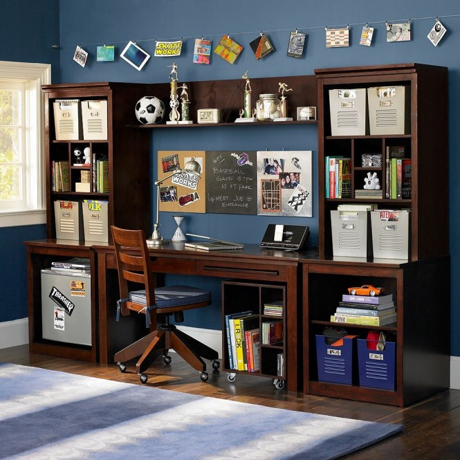 boys study space blue and brown