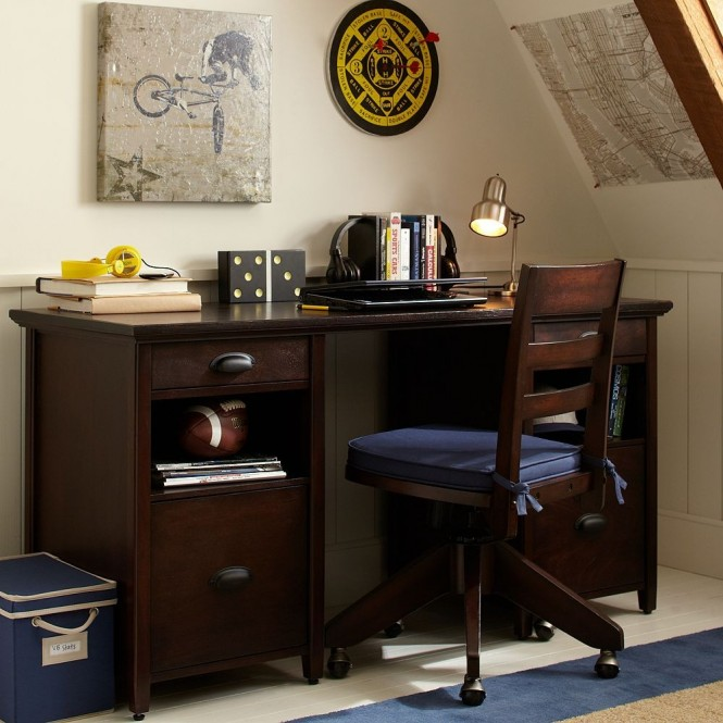 boys study space dark desk
