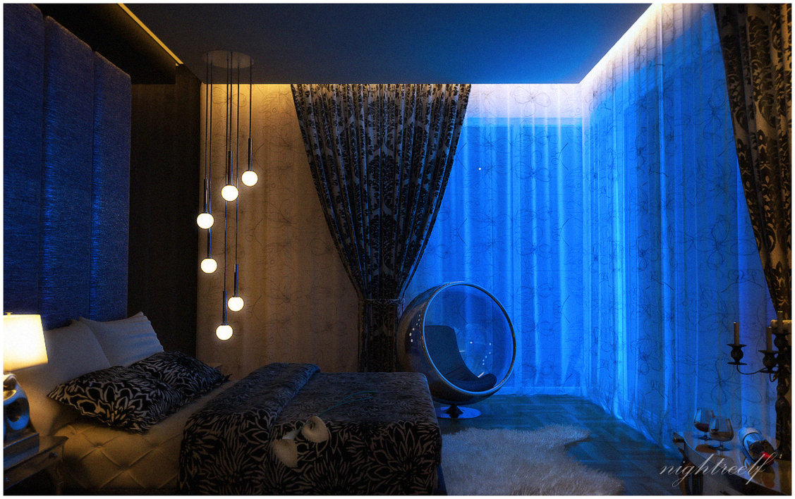 Dark blue space bedroom interior design ideas for Bedroom lights decor