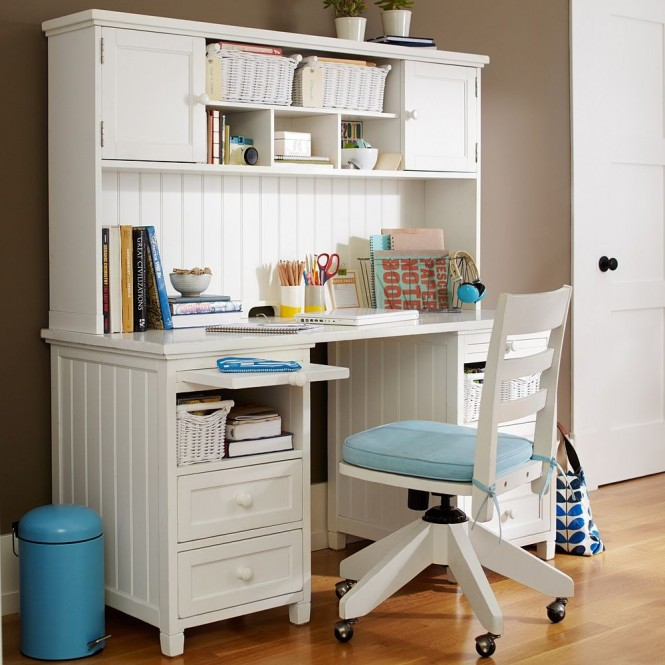 girl bedroom desk white and blue and coffee