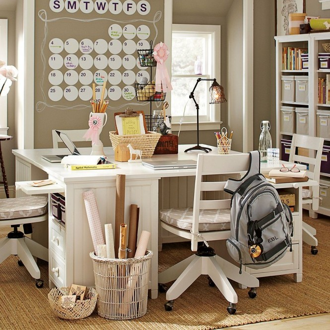 girls school desk beige and white