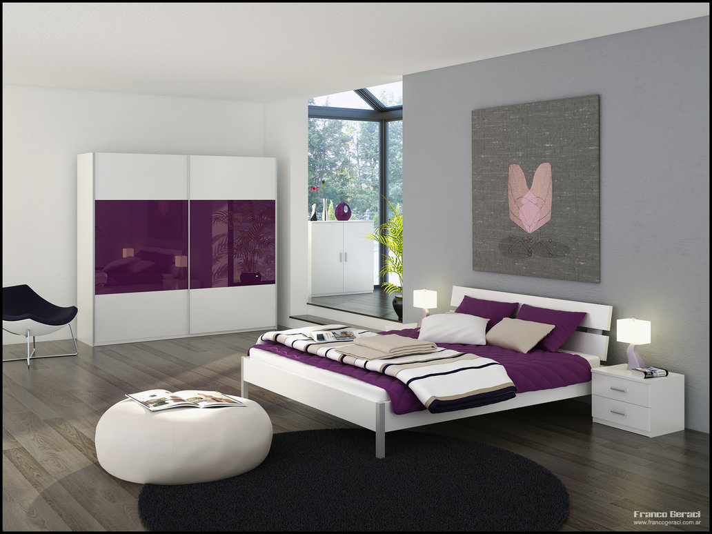 Grey bedroom with glass sanctuary and purple and white for Bedroom designs purple