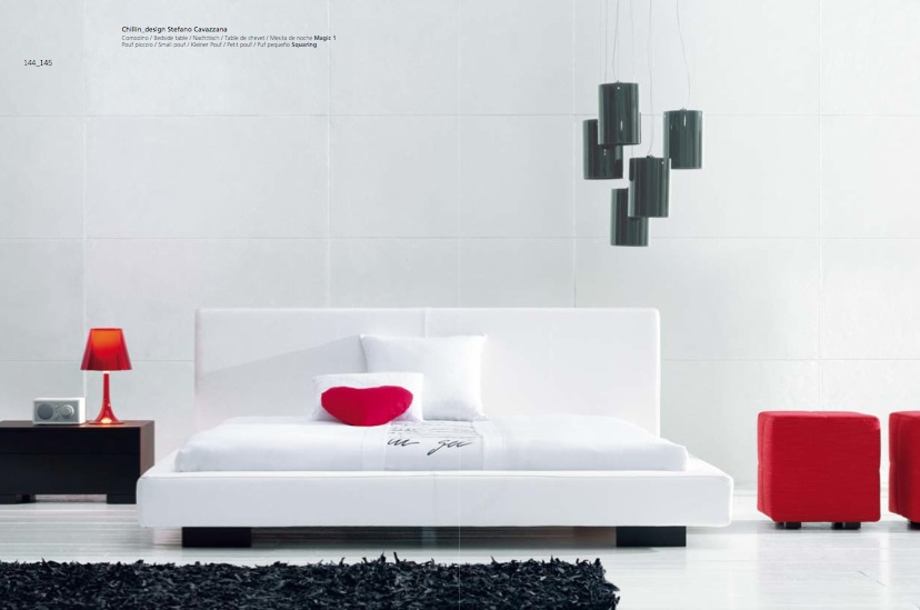 Luxury White Red Black Bedroom Interior Design Ideas