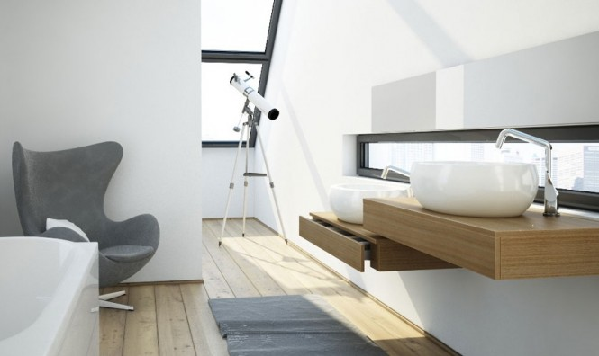 modern bathroom with lookout
