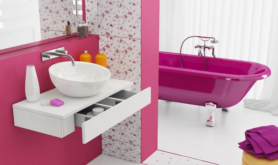 Pink bathroom interior design ideas for Bathroom designs for girls