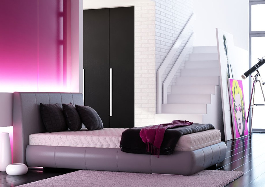 Pink bedroom interior design ideas for Black and pink wallpaper for bedroom