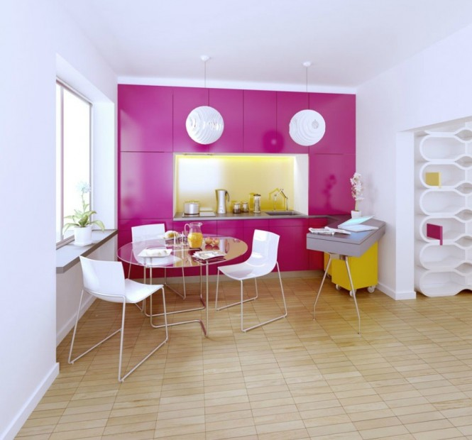 polish firm pink yellow and white kitchen