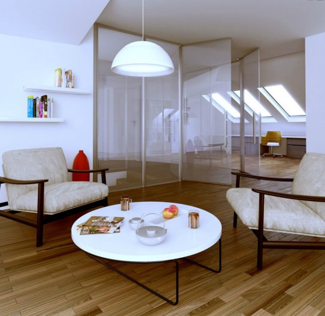 polish firm white and glass attic living area
