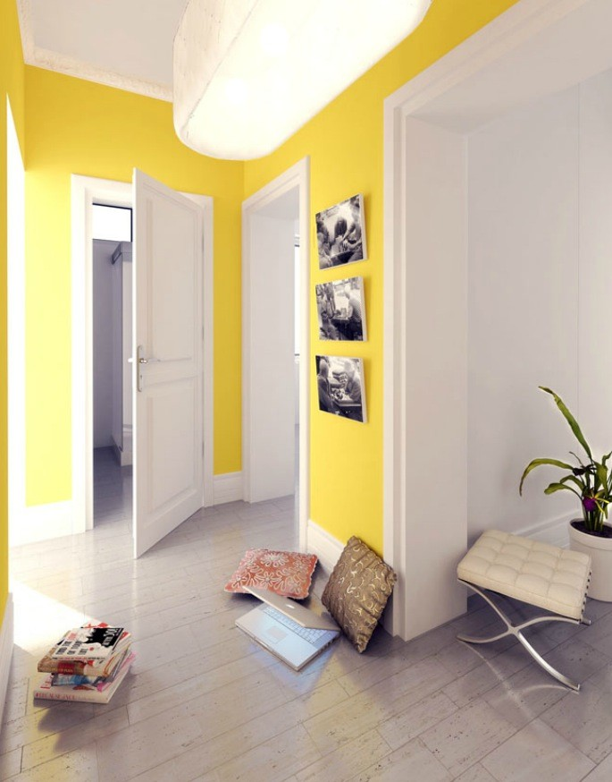 polish firm yellow and white hallway | Interior Design Ideas.