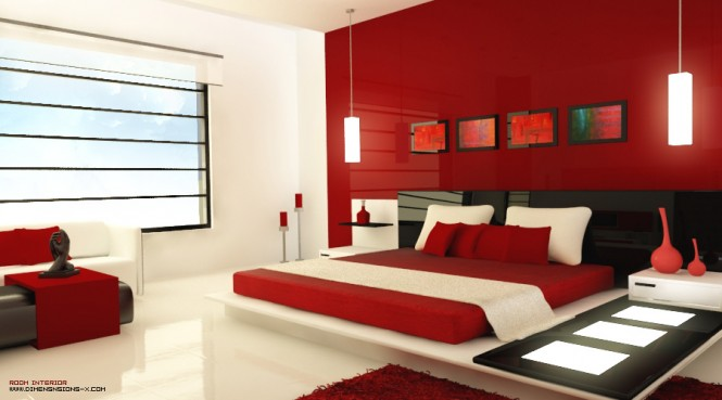 Desogm by Zaib. This ultra modern red bedroom, is accessorized with light panels, unique red vases, and hanging vertical lights. The intensity of the red and brown colors are relieved by the cream colored pillows and floors.