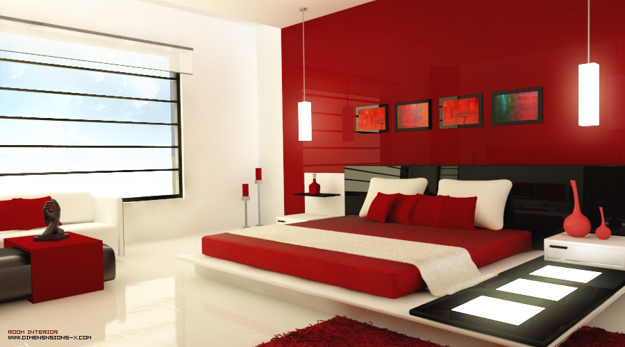 modern red bedroom, is accessorized with light panels, unique red ...