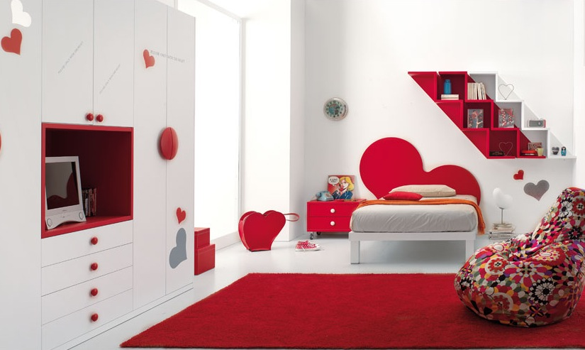 Red bedrooms for Chambre 9m2 ikea