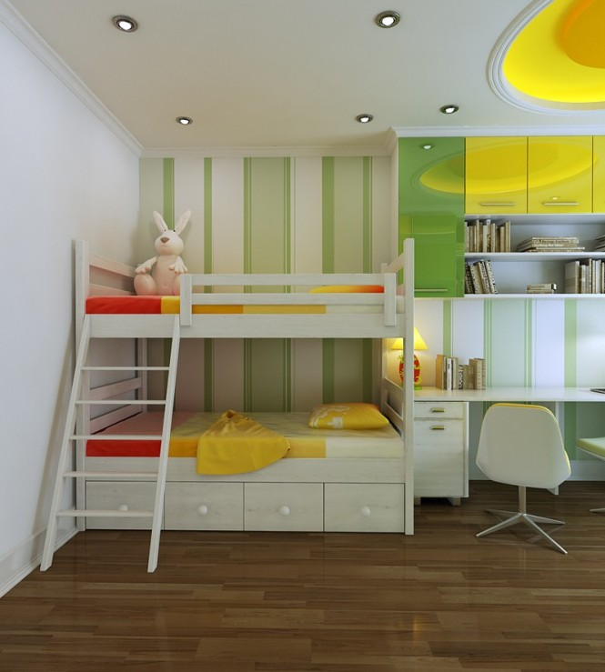 vu khoi childrens yellow and green bedroom