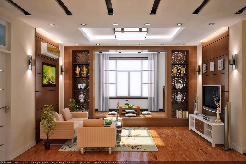 Vu khoi living room and den interior design ideas Den decorating ideas photos