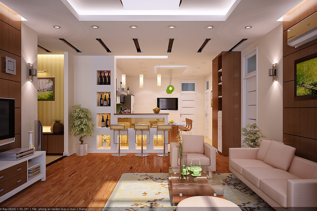 Interior rendering by vu khoi for Interior design for living room with open kitchen
