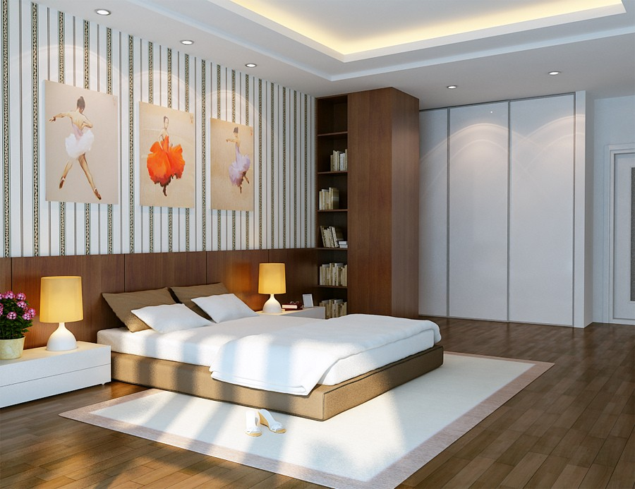 vu khoi white and brown bedroom with ballerinas on walls interior