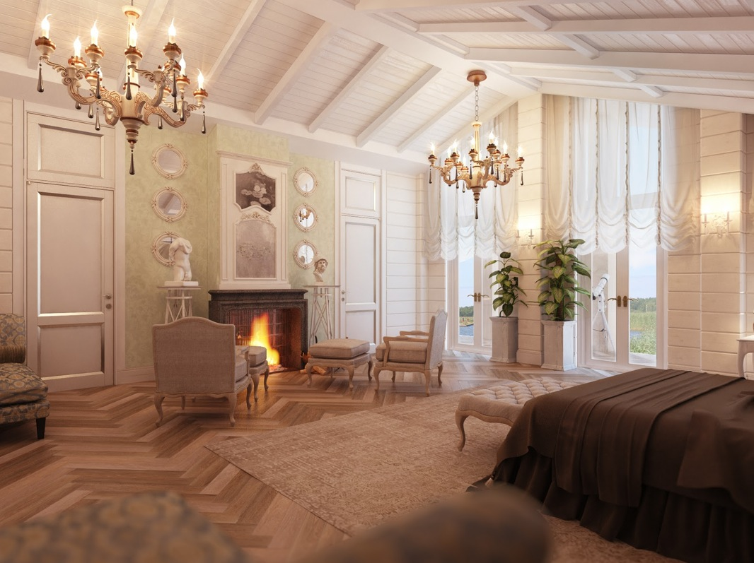 bedroom with fireplace interior design ideas