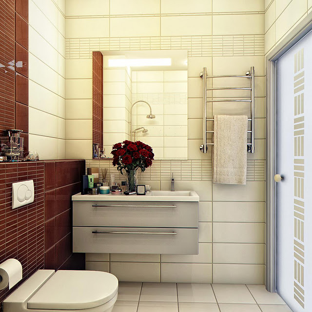 Colour Blocking Dark Brown-Cream Bathroom