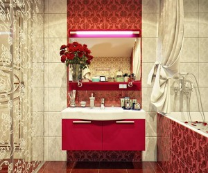 When it comes to combining vintage and modern, that's a job that is quite tricky if you're not a genuine professional. It can look abruptly put together, and even clashing. But it seems to us that this designer passed yet another test - just look what she did with this warm, luxurious bathroom which combines modern furniture in a strong colour, with strong patterns and decors on the tiles and the glass doors. Who would say that halogen lights above the mirror go so well with vintage patterns on these voluptuous red tiles?