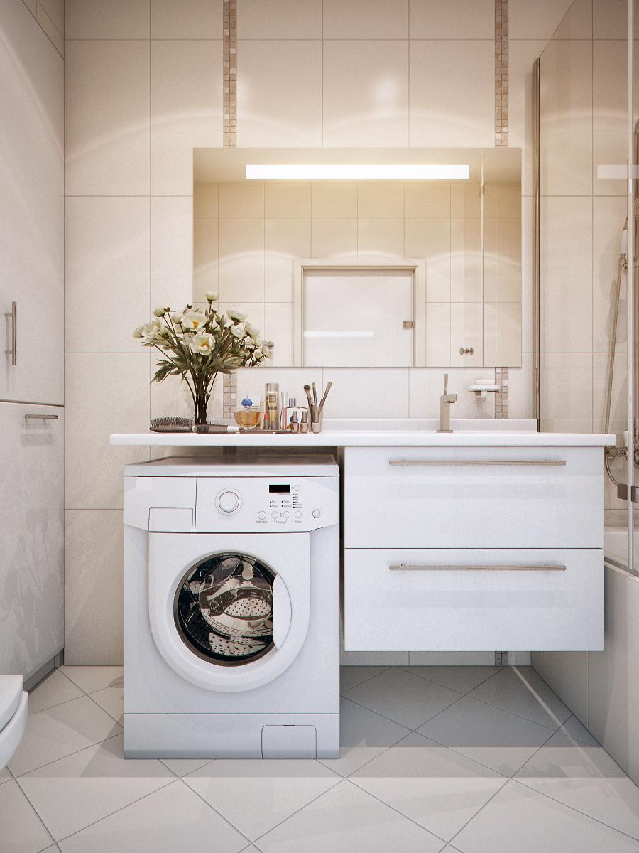 Practical sink washing machine unit interior design ideas for Washing machine in bathroom ideas