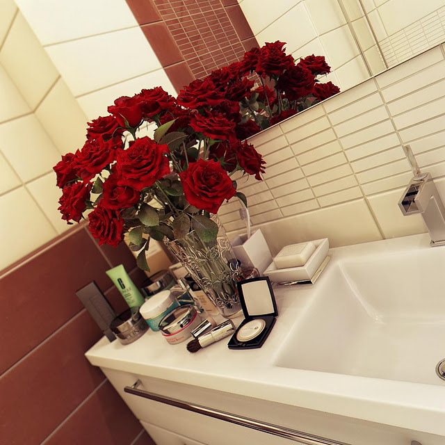Red Roses on the Sink