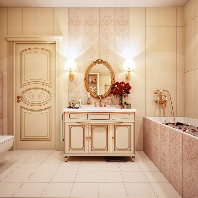 Now, with slightly bigger bathrooms, the designer gave herself room for over-doing it. Painting the pipes in a rich gold colour, choosing to clash warm toned tiles with cooler toned ones, or mixing patterns all over the place, we feel that when it comes to these designs, it becomes a question of taste. Some people may like the Moroccan feel of the blueish-cream bathroom, and some may find it to be too much. To some, marble is cold and slippery, hence impractical, and don't think that it's the best choice for a bathroom floor, but those who like luxury and a vintage feel in their bathrooms should enjoy these upcoming photographs. We find them very interesting and wonderful! Especially the ones, where she combines dark wood with different tiles!