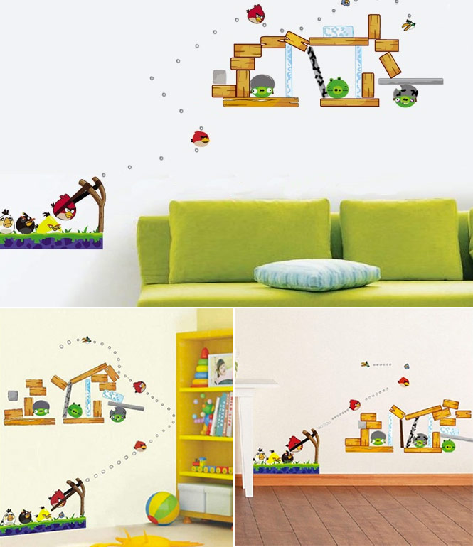 Angry birds inspired accessories for your home for Angry bird wall mural