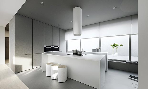 fancy white kitchen - View Kitchen Minimalist House Interior Design Background
