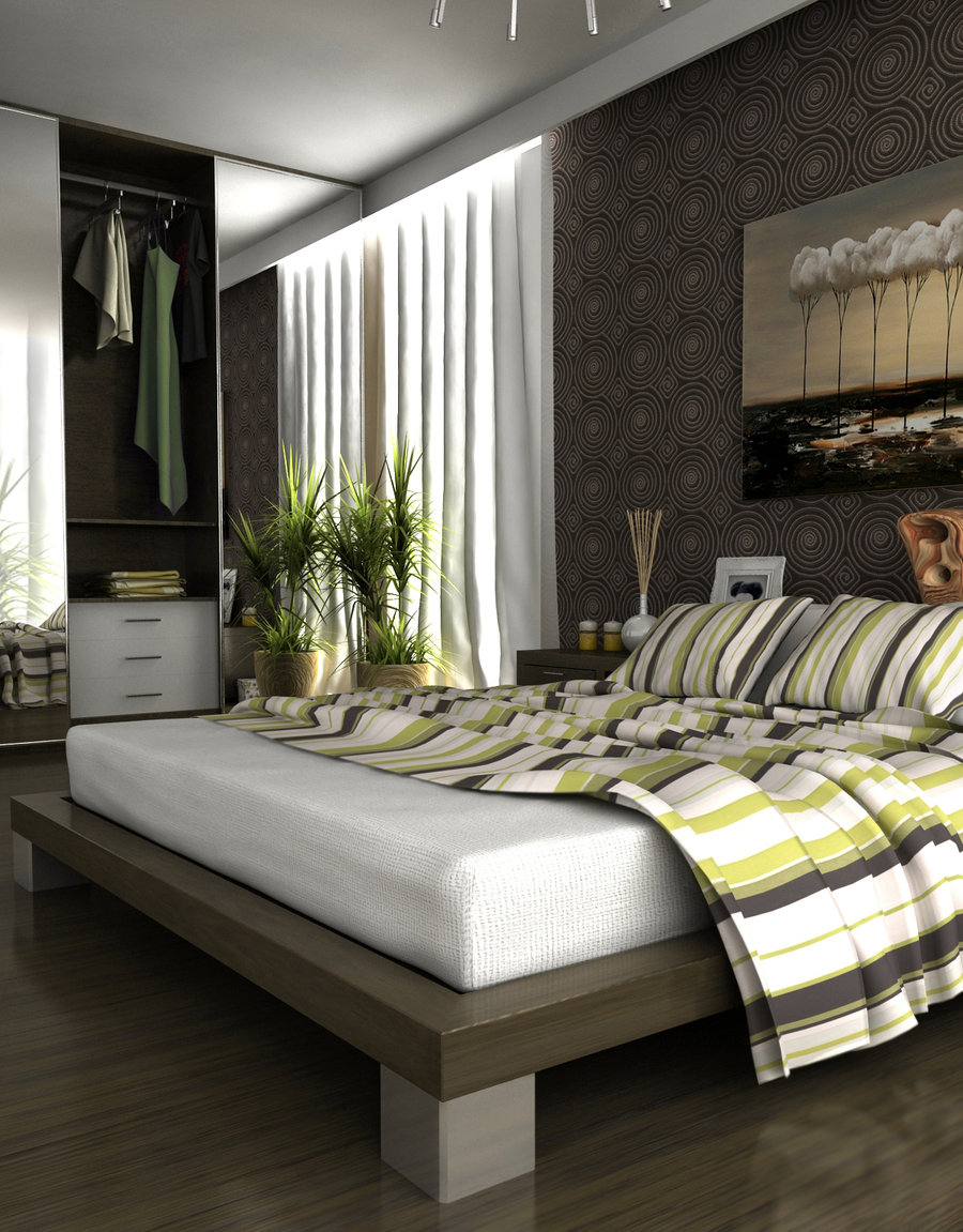 Gray bedroom interior design ideas - Green and grey room ideas ...