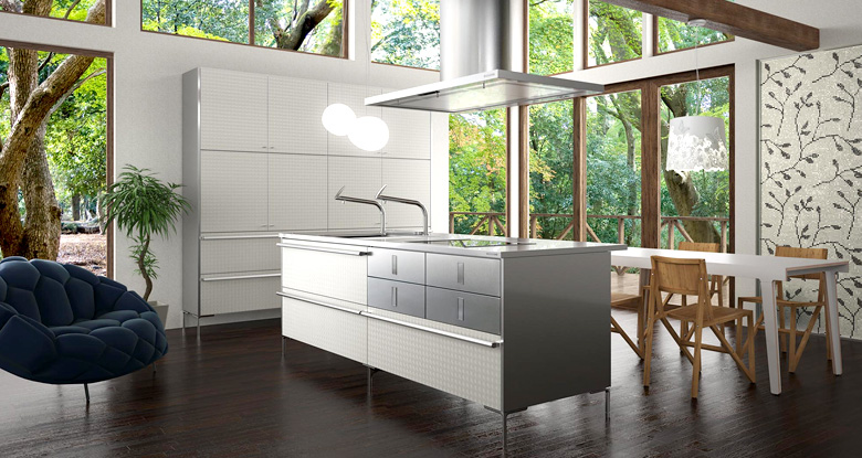 Modern japanese kitchens for Modern kitchen wallpaper ideas