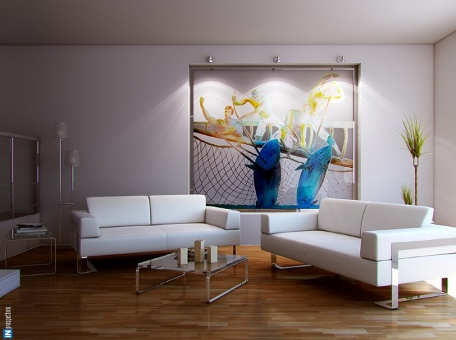 Dashing artistic interiors from pixel3d for Downlight design living room
