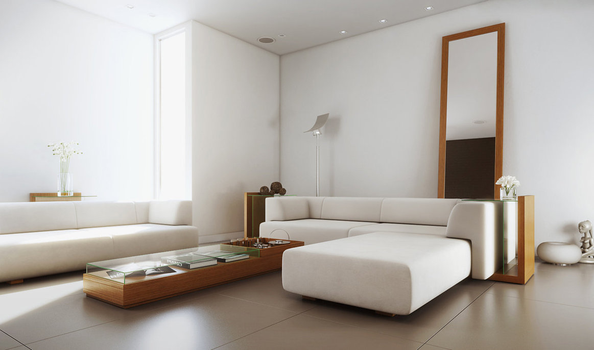 White simple living room interior design ideas for Minimal design living room