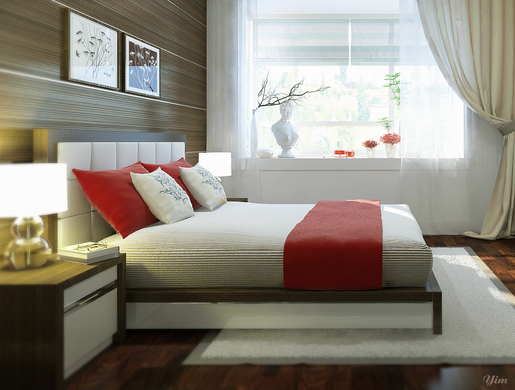Warm and cozy rooms rendered by yim lee for How to decorate a red bedroom