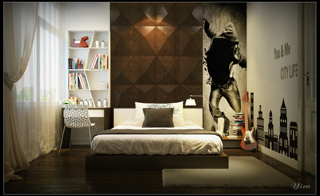 Warm and cozy rooms rendered by yim lee for Boys room wall mural