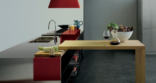 Grey and Red with a Wooden Element