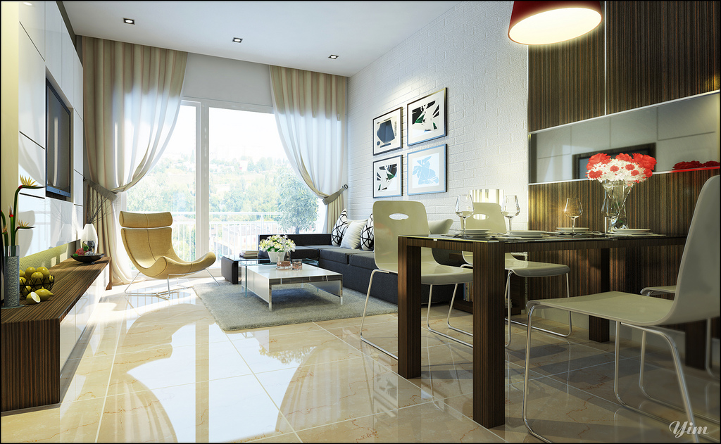 Warm and cozy rooms rendered by yim lee for Living dining room small space