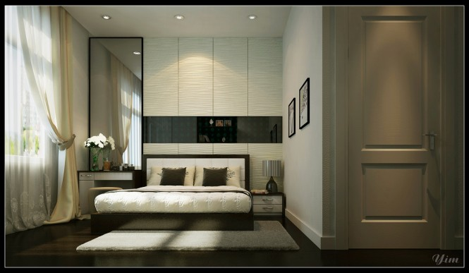 The bedrooms in Yim Lee's renders are often revolving around a feature wall, on which the head of the bed is placed. He uses different textured walls, that are the focal point of the room, and plunder the viewers attention.
